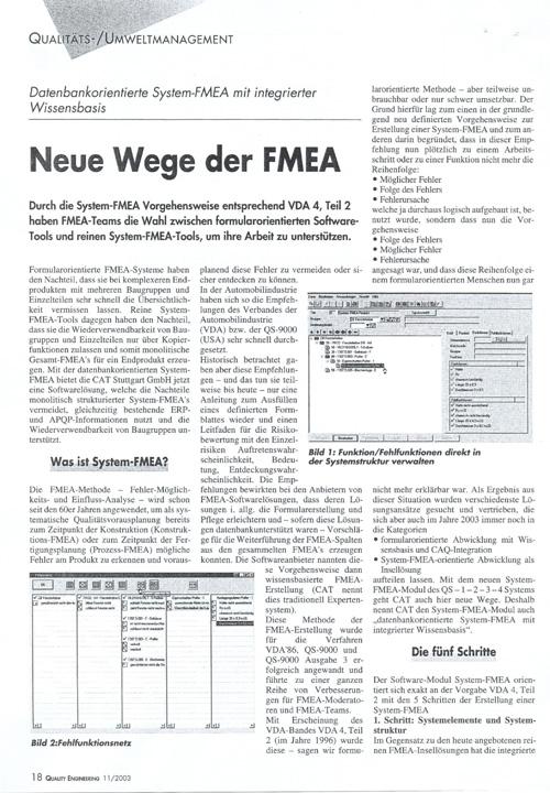 Neue Wege der FMEA - Datenbankorientierte System-FMEA mit integrierter Wissensbasis